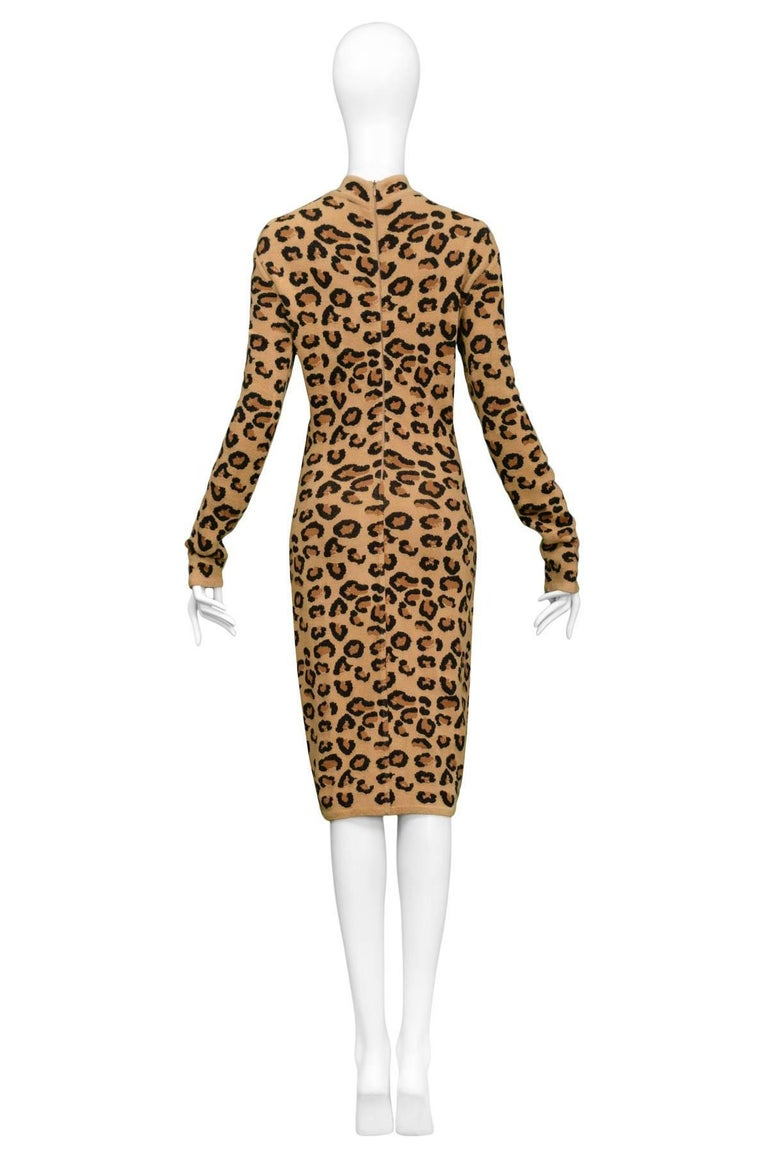 Iconic Azzedine Alaia Leopard Knit Body-Con Dress 1991  In New never worn Condition For Sale In Los Angeles, CA
