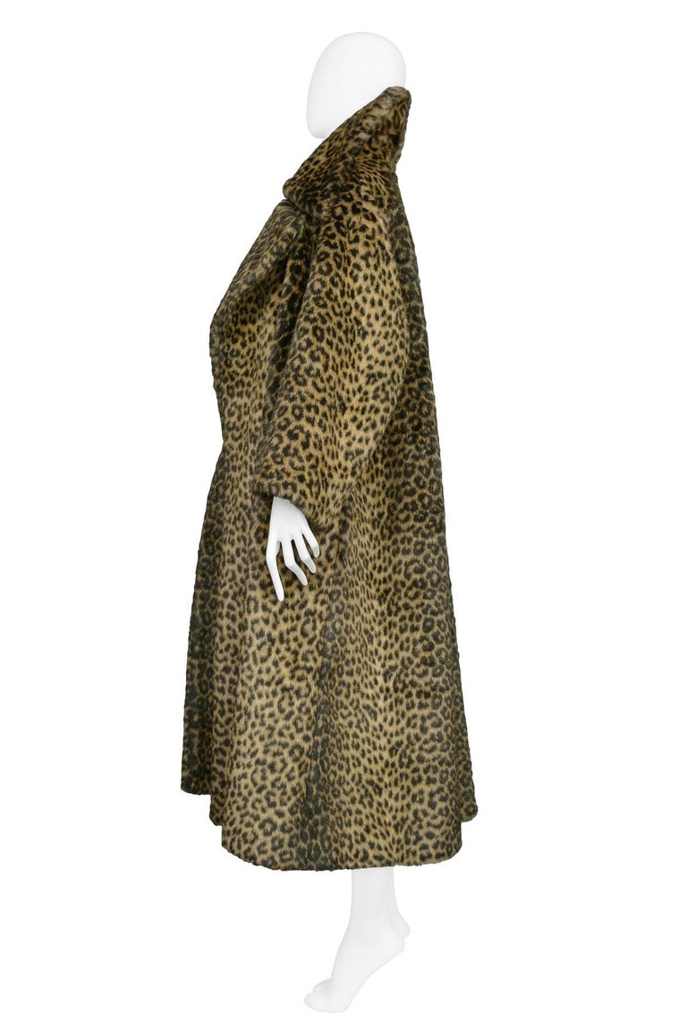 Black Iconic Alaia Leopard Faux Fur Coat 1991  For Sale