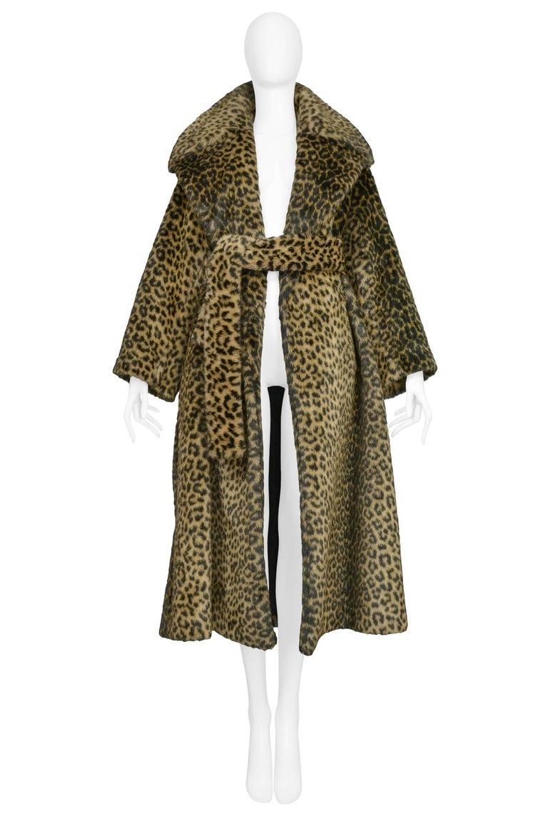 Iconic Alaia Leopard Faux Fur Coat 1991  In Excellent Condition For Sale In Los Angeles, CA