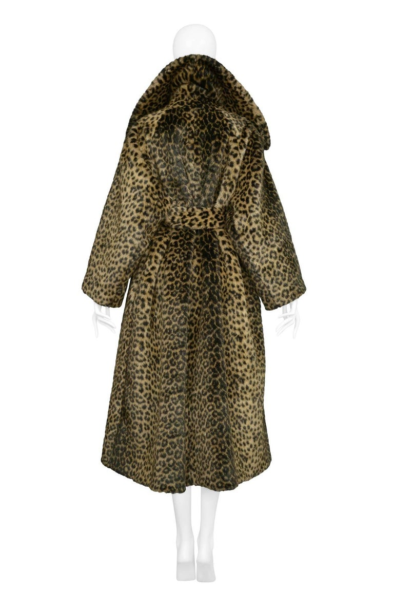 Women's Iconic Alaia Leopard Faux Fur Coat 1991  For Sale