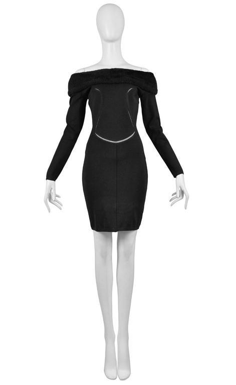 Alaia Black Faux Fur Collar Dress 3
