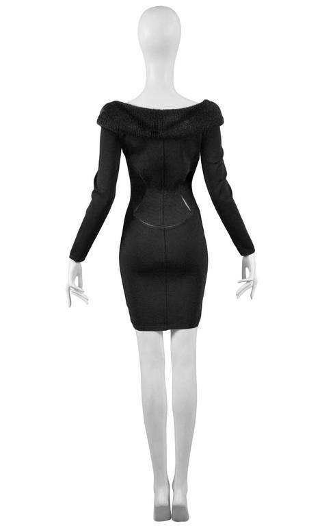 Alaia Black Faux Fur Collar Dress 4