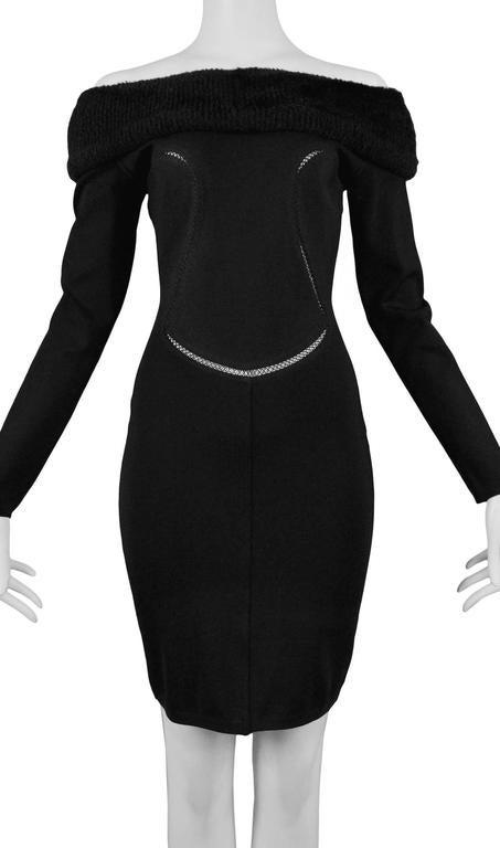 Alaia Black Faux Fur Collar Dress 5