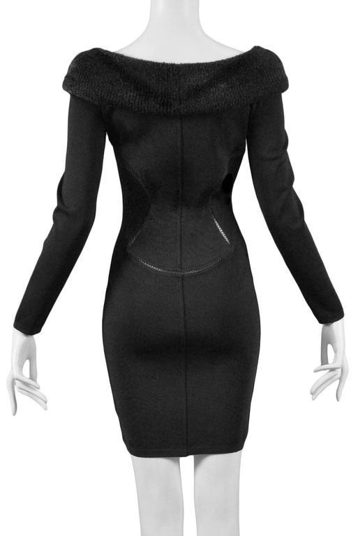 Alaia Black Faux Fur Collar Dress 7