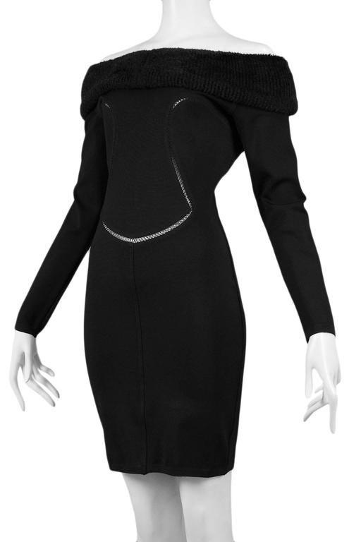 Alaia Black Faux Fur Collar Dress 8