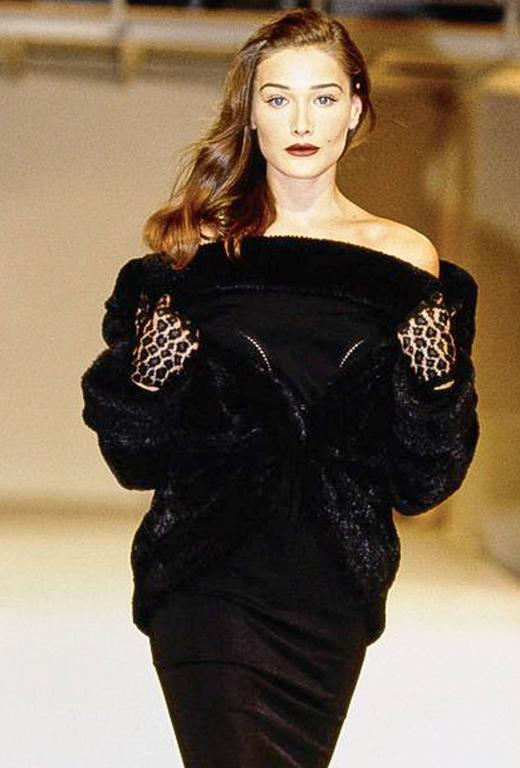 Alaia Black Faux Fur Collar Dress 10