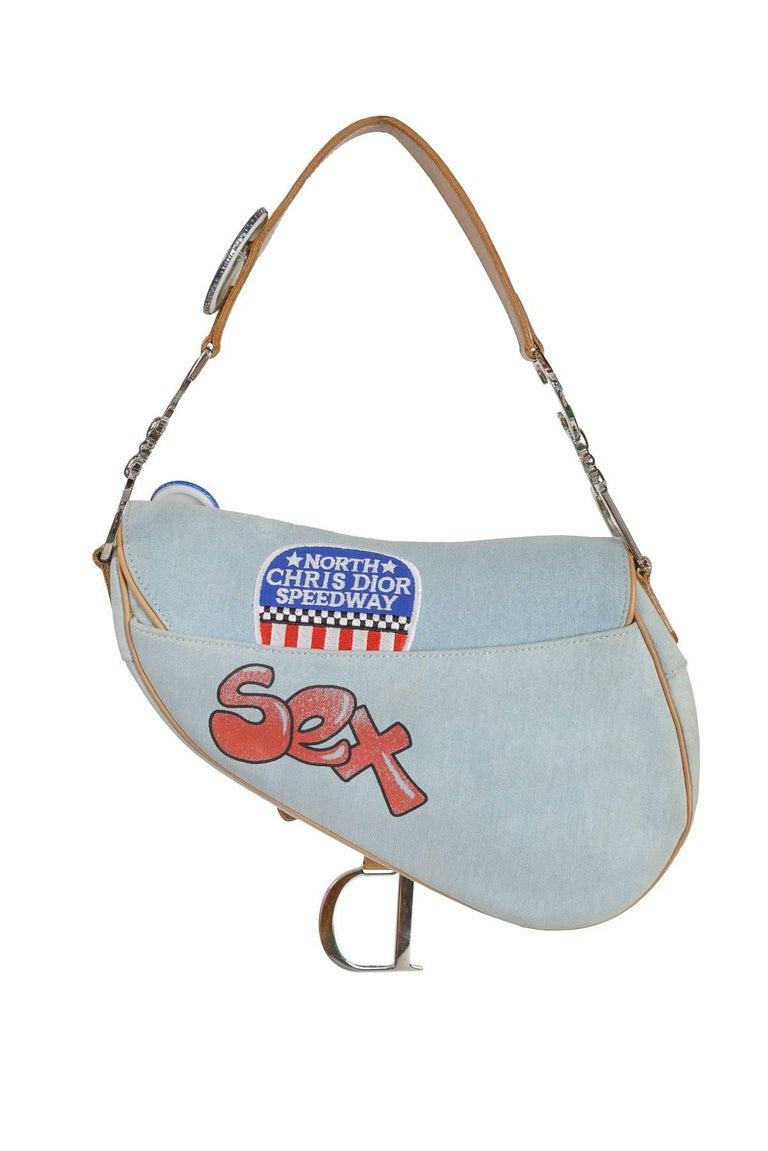 Gray Christian Dior 'Speedway' Limited Edition Denim Saddle Bag