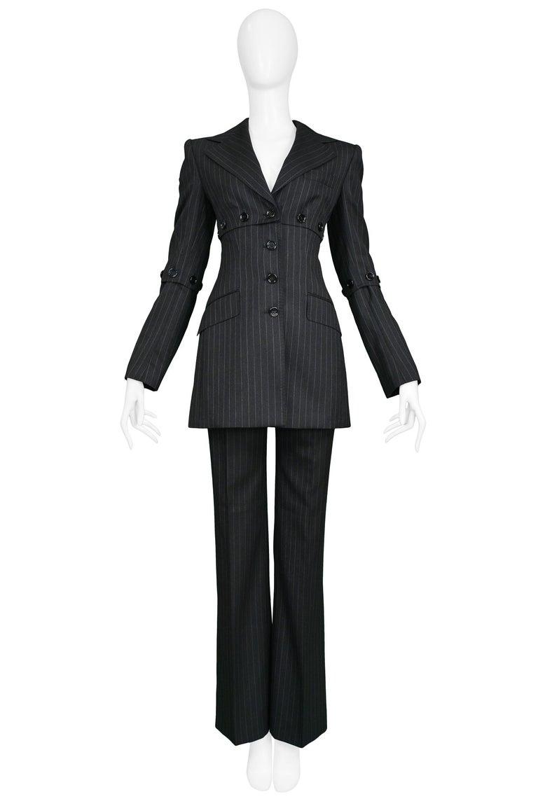 Black Dolce & Gabbana Vintage Pinstripe Pantsuit For Sale