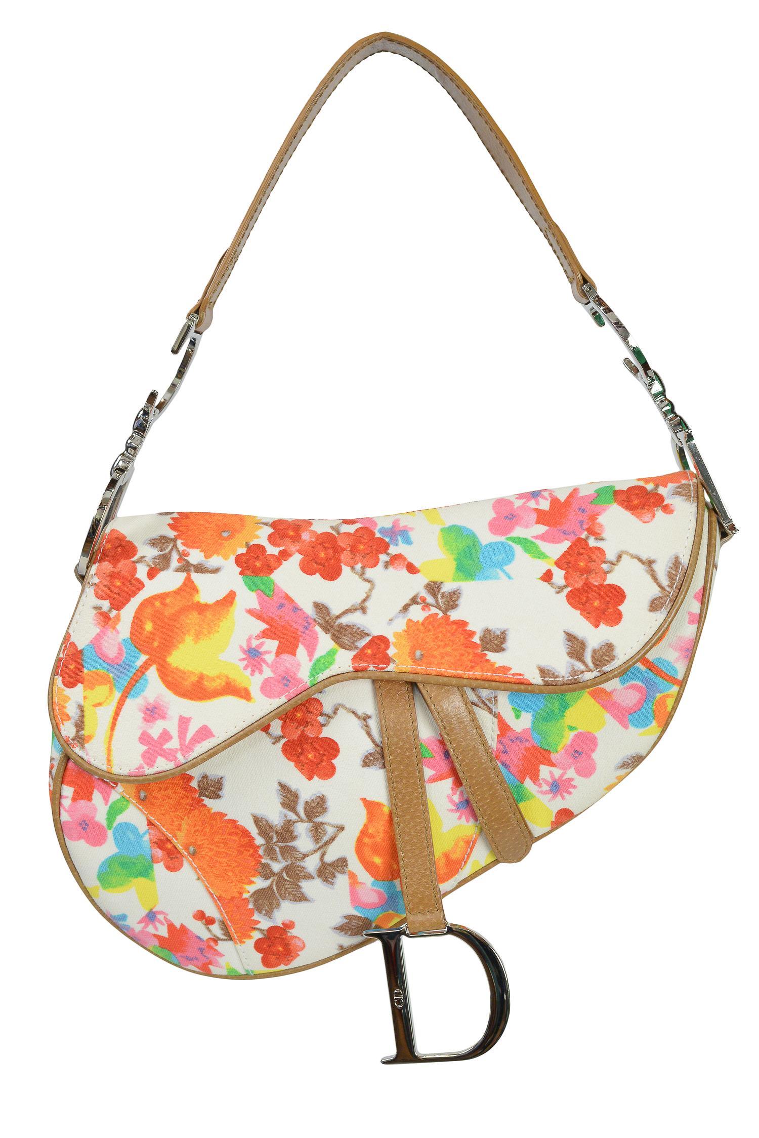 eddccd90b47 Vintage John Galliano for Christian Dior Floral Saddle Bag For Sale at  1stdibs