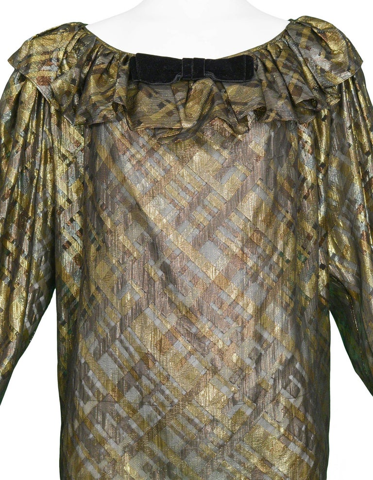 Gray Yves Saint Laurent Gold and Black Metallic Blouse, 1980s   For Sale