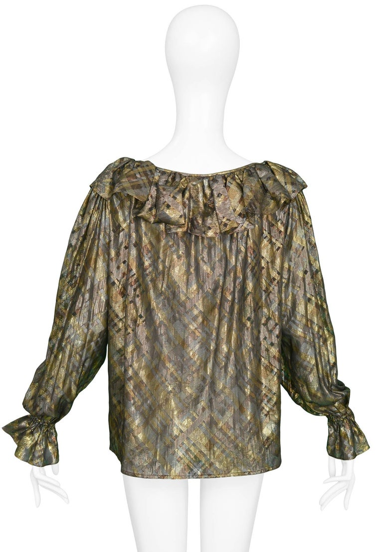 Yves Saint Laurent Gold and Black Metallic Blouse, 1980s   In Excellent Condition For Sale In Los Angeles, CA