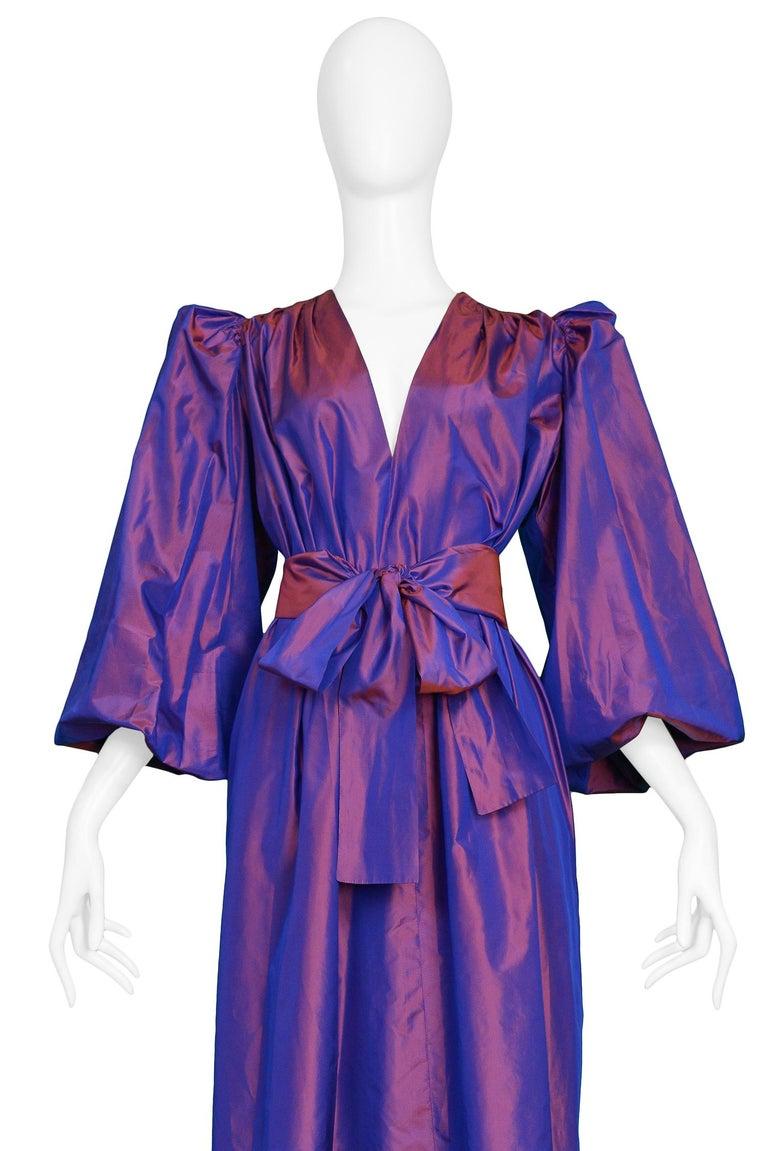 Purple Vintage Yves Saint Laurent Metallic Taffeta Gown  For Sale