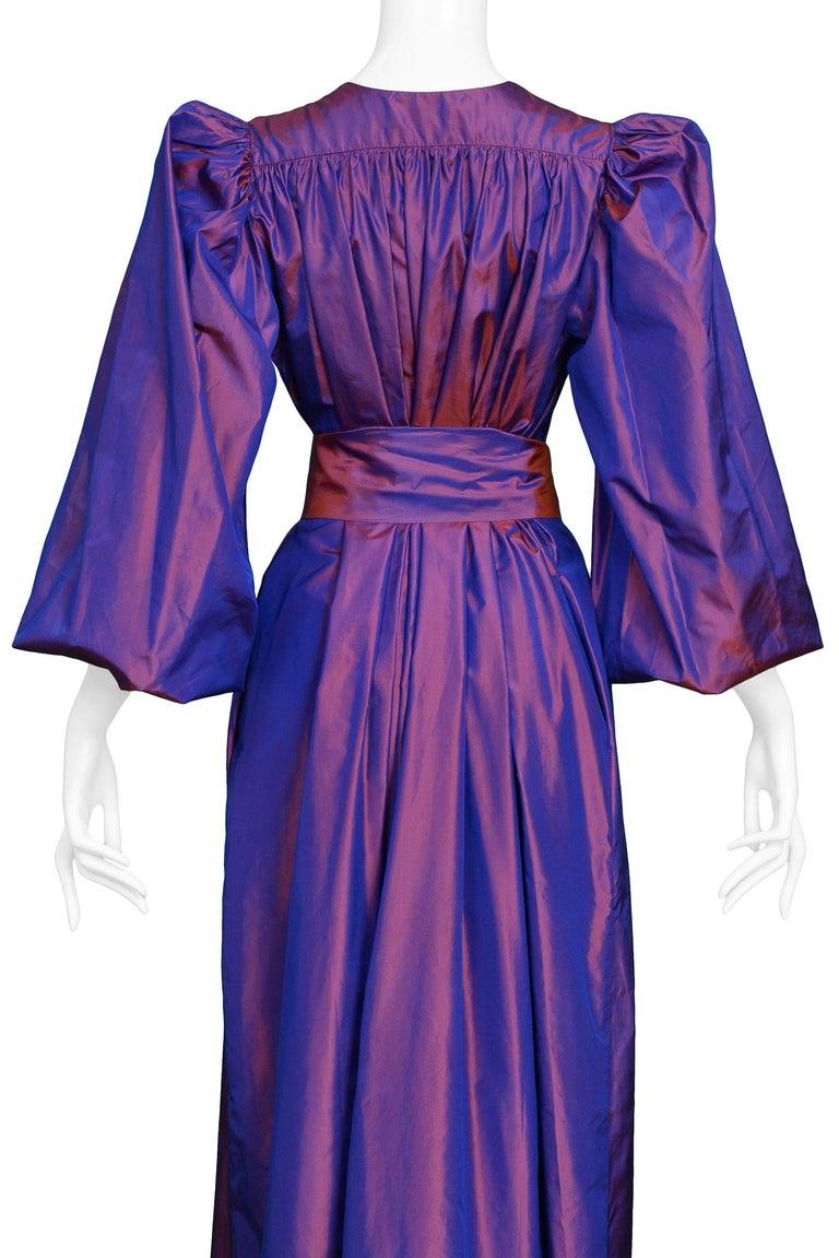 Vintage Yves Saint Laurent Metallic Taffeta Gown  For Sale 2