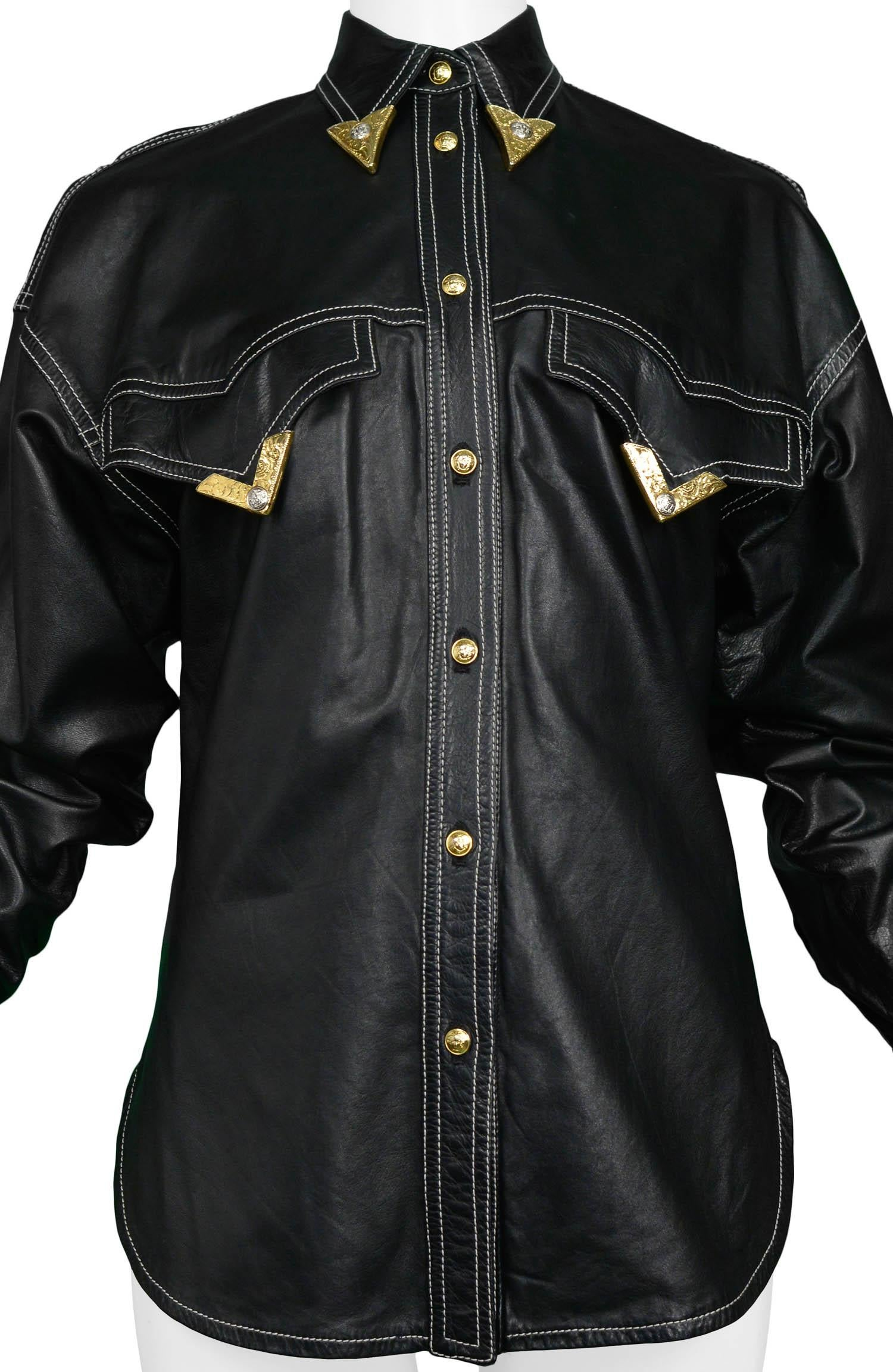 07d6a45b Vintage Gianni Versace F/W 1991 Leather Western Shirt at 1stdibs