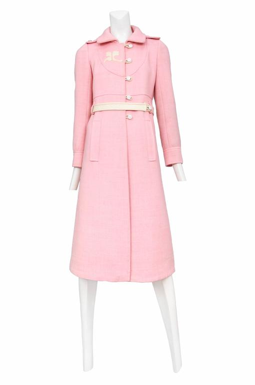 Courreges Pink Wool Coat 2