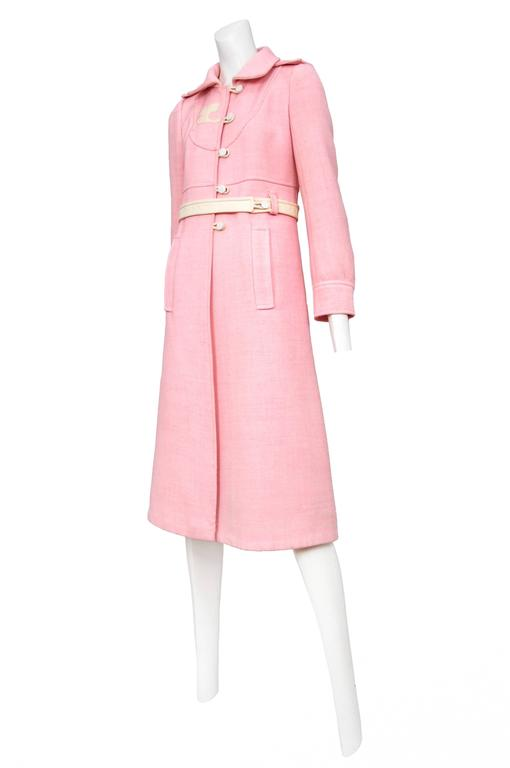 Courreges Pink Wool Coat 3