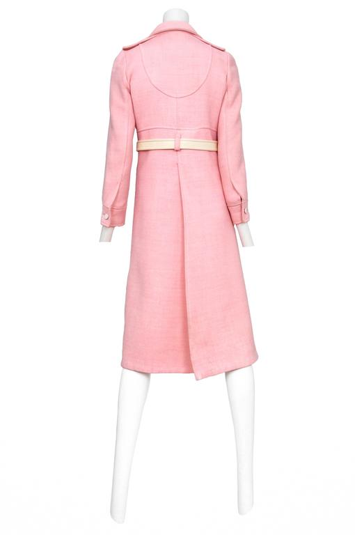 Courreges Pink Wool Coat 4