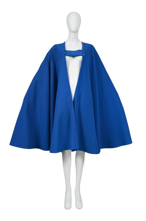Yves Saint Laurent Blue Wool Cape 3