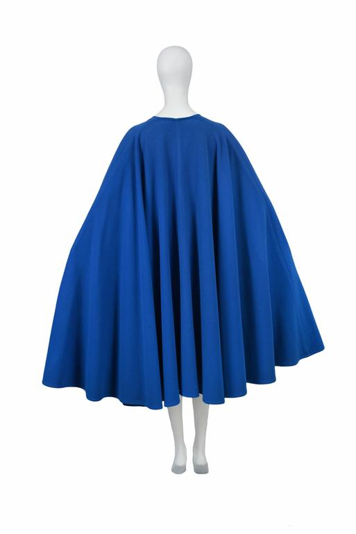 Yves Saint Laurent Blue Wool Cape 4