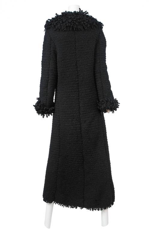 Vintage Yohji Yamamoto black shaggy wool duster coat.