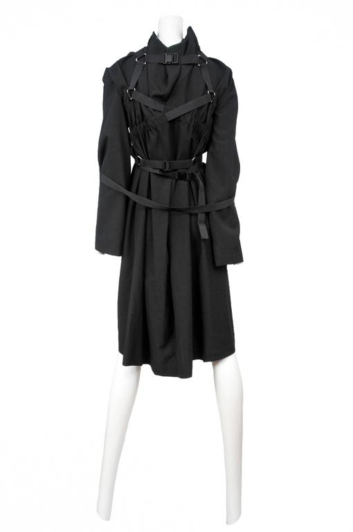 Vintage Junya Watanabe for Comme des Garcons black long sleeve bondage parachute dress. Circa 2002