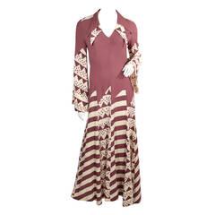 1970s Ossie Clark Crepe Dress