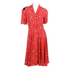 Late 1940s Red Print Dress