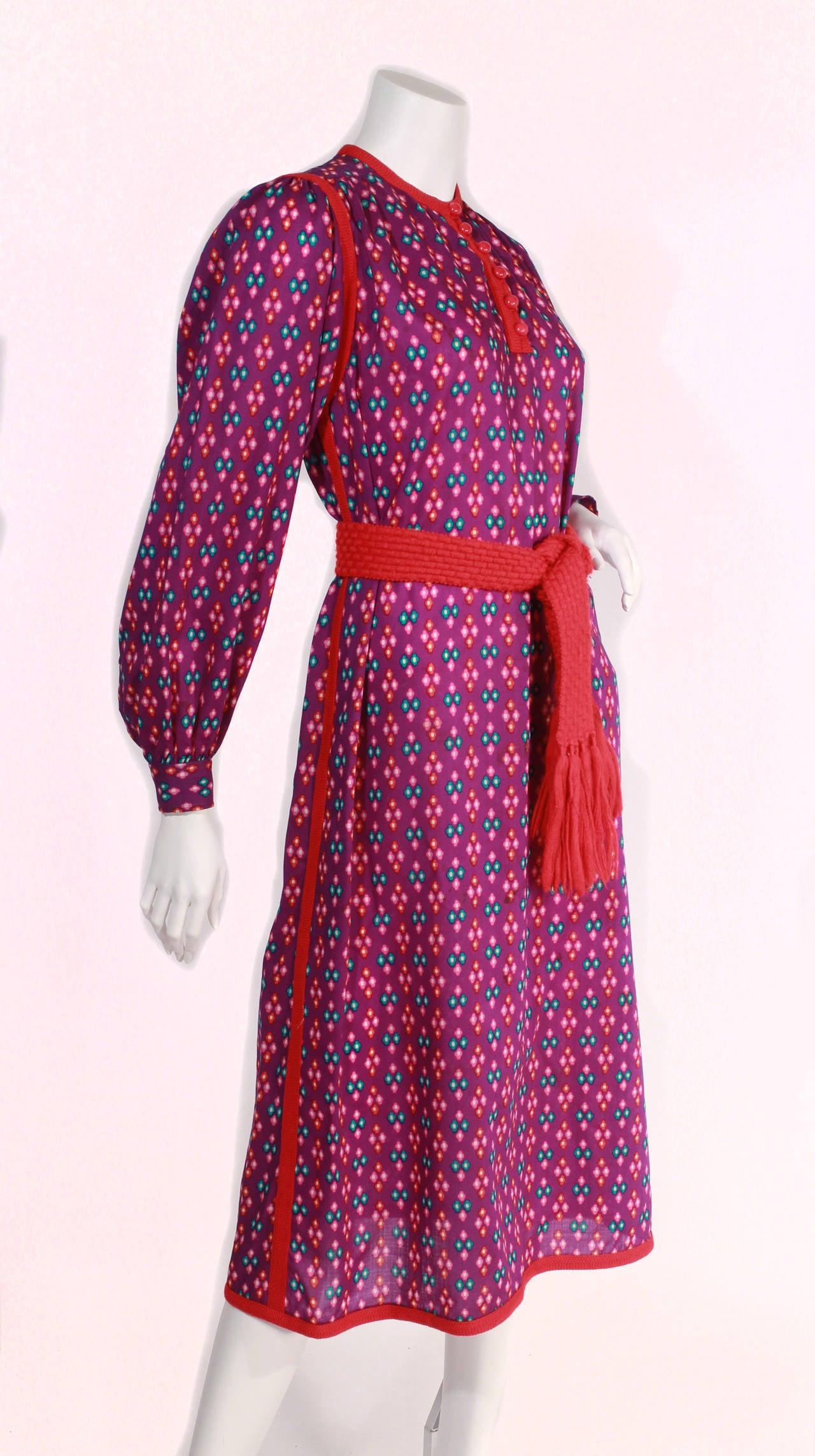 Early Yves Saint Laurent Peasant Dress At 1stdibs