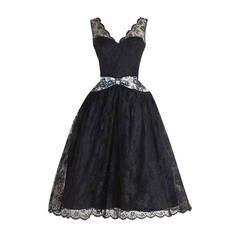 1950's Black Chantilly Lace Illusion Cocktail Dress