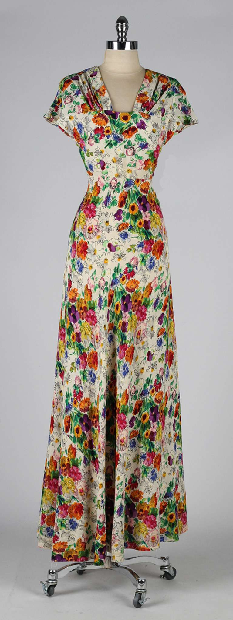 vintage 1930 s engel silk crepe floral dress at 1stdibs