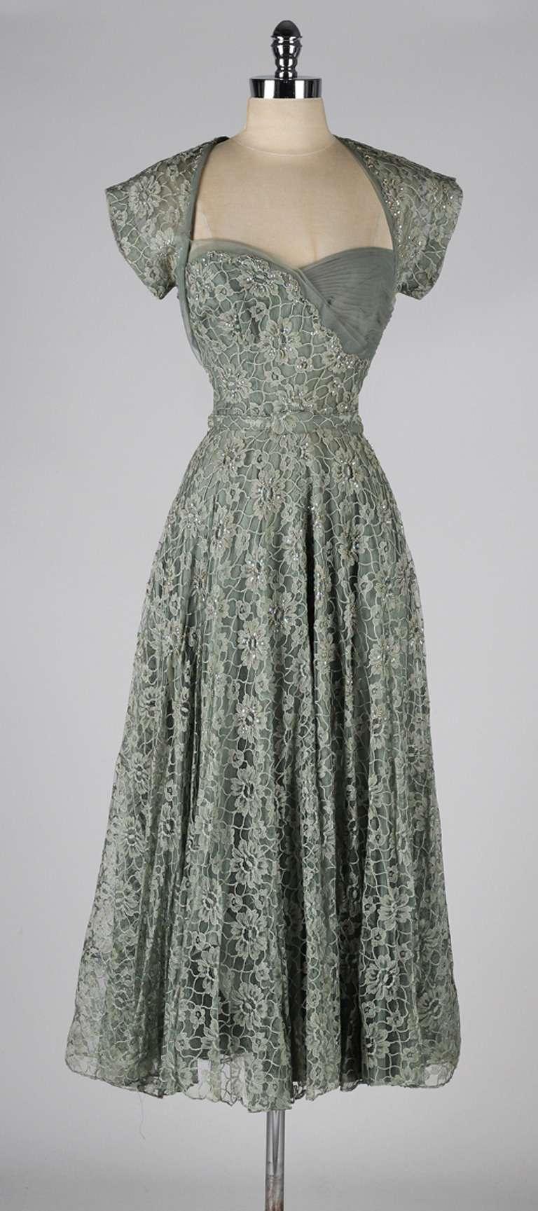 Vintage 1940s Sage Green Lace Cocktail Dress At 1stdibs