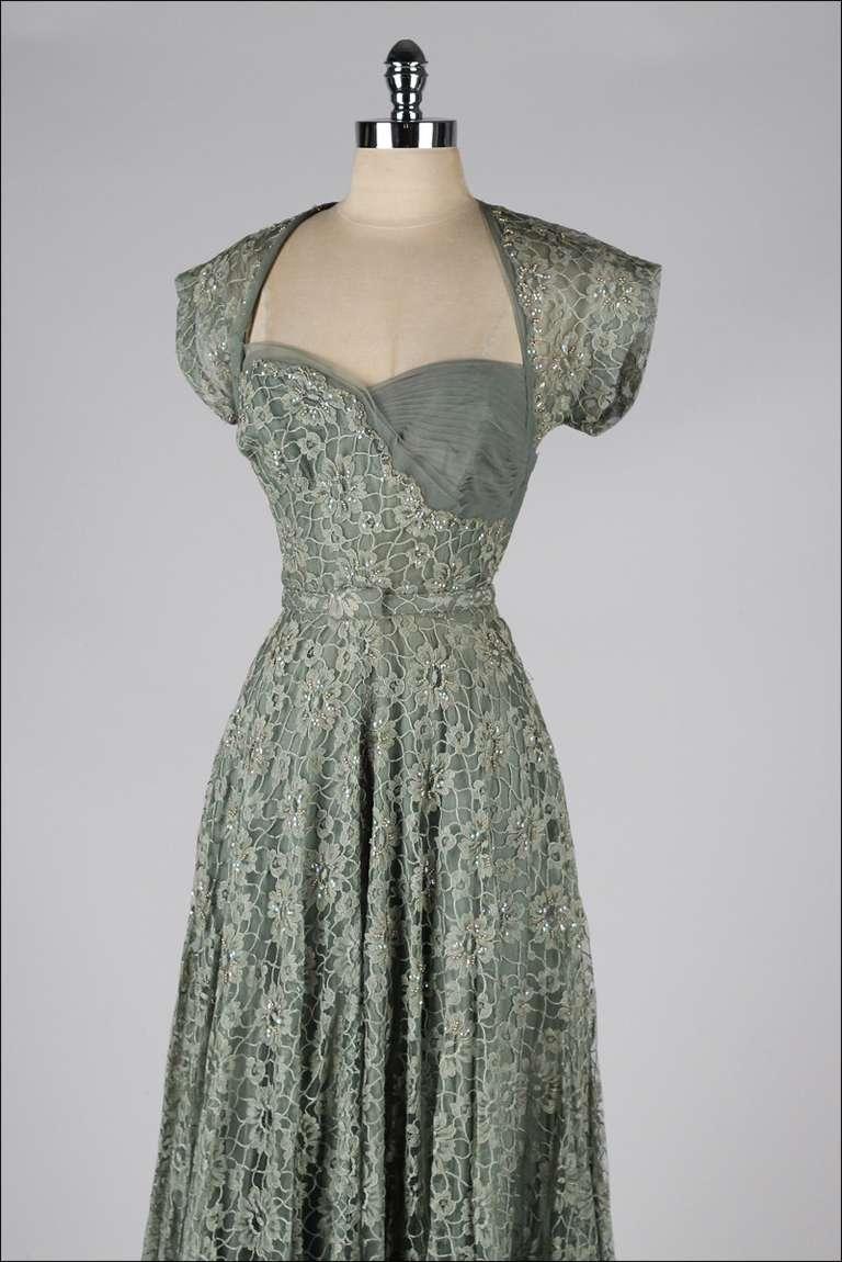 Vintage 1940\'s Sage Green Lace Cocktail Dress at 1stdibs