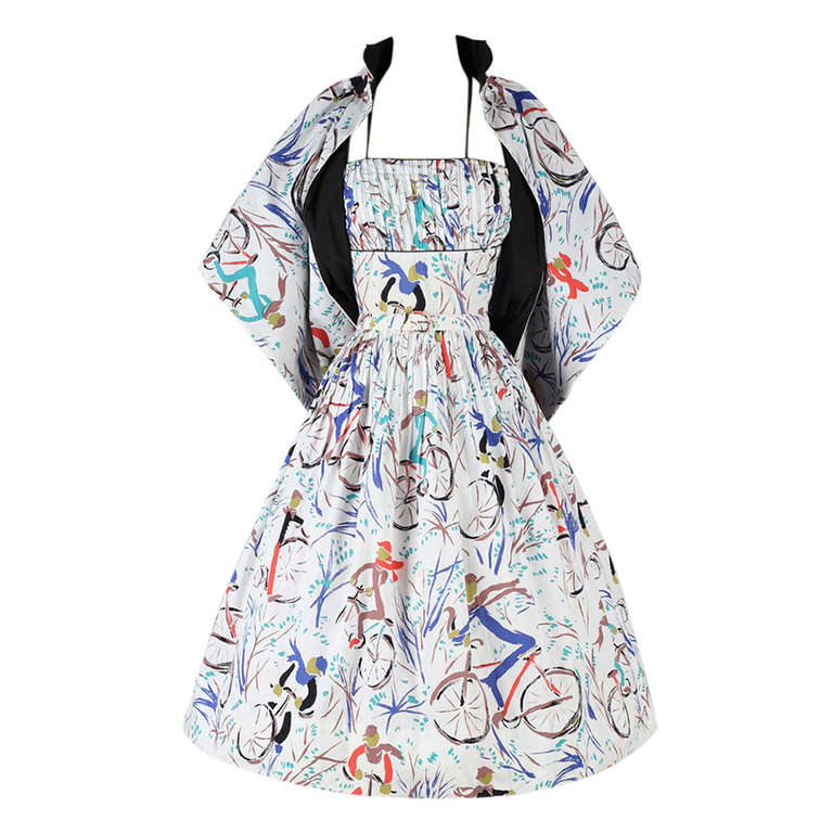 vintage 1950 s bicycle print dress and wrap by l aiglon at