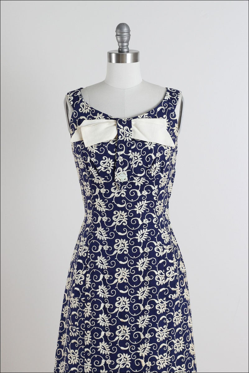 Vintage s navy embroidered irish linen dress image