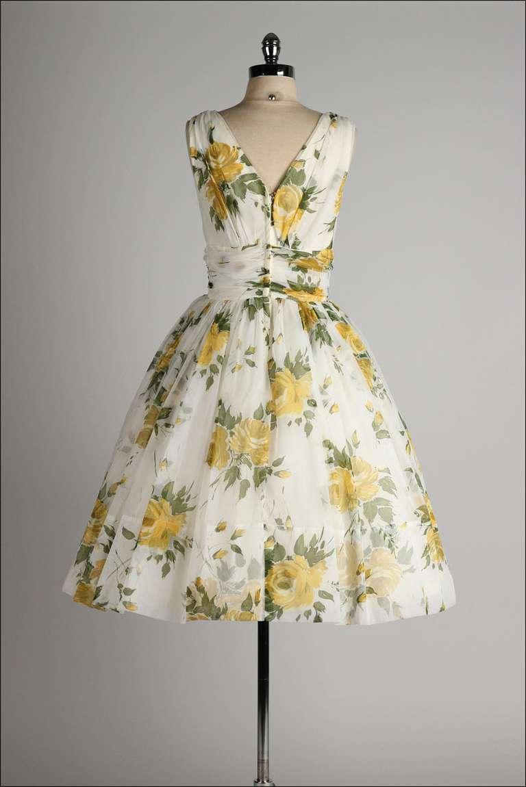 vintage 1950s white chiffon yellow roses cocktail dress
