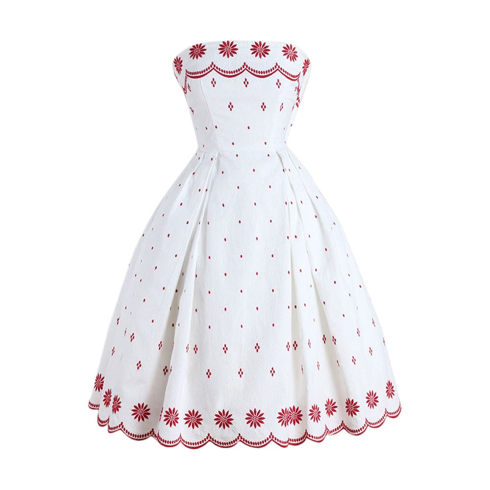 Vintage 1950s Ruth Chagnon White Cotton Pique Dress At 1stdibs
