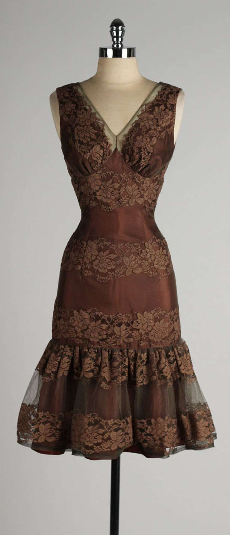 Vintage 1950\'s Chocolate Brown Lace Cocktail Dress at 1stdibs