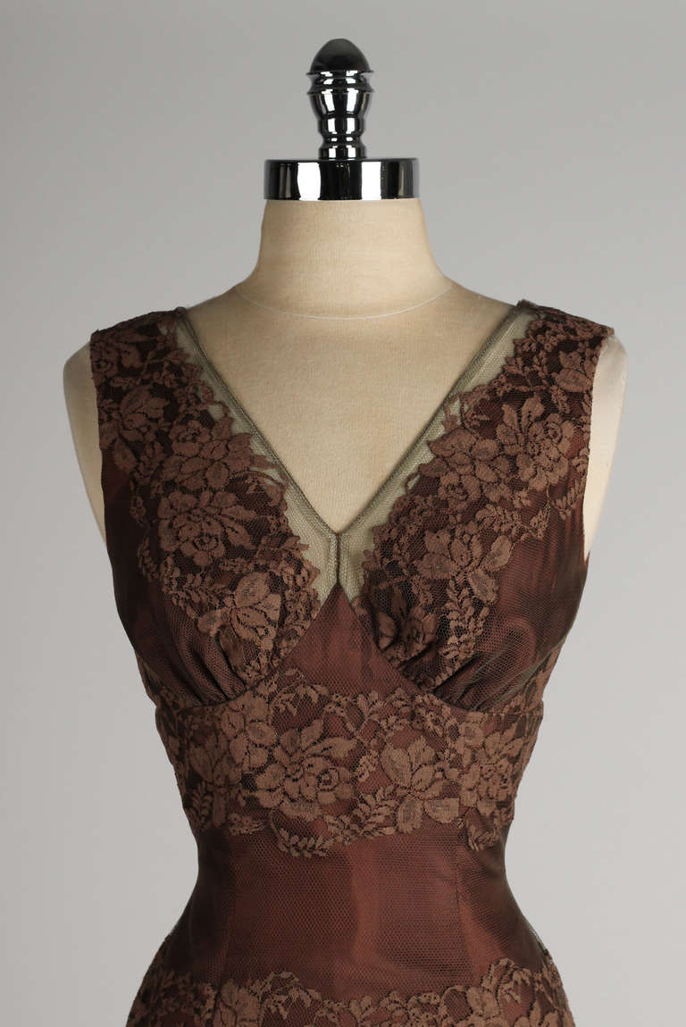 Vintage 1950 S Chocolate Brown Lace Cocktail Dress At 1stdibs