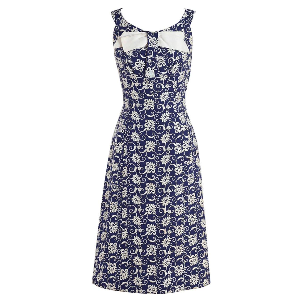 Vintage s navy embroidered irish linen dress at stdibs