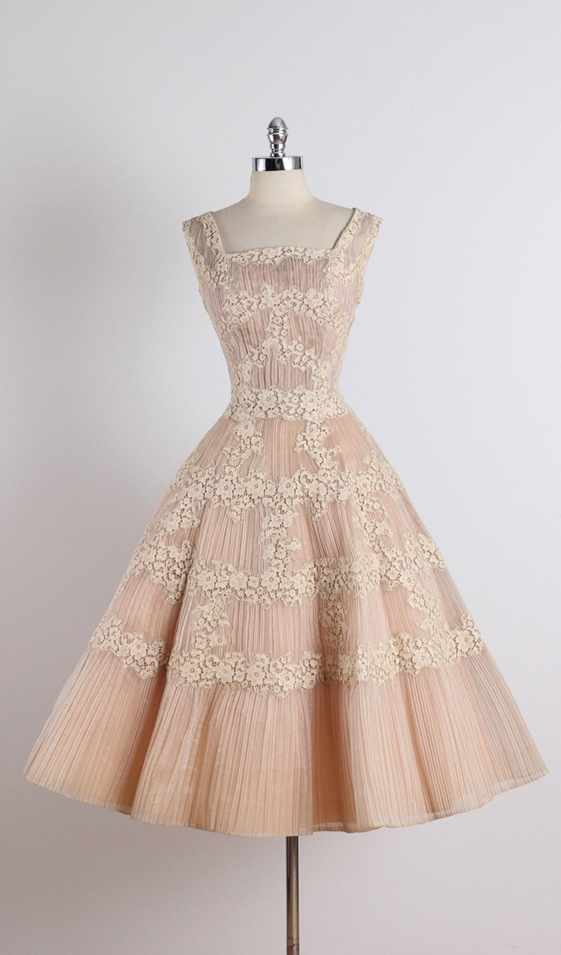 Vintage 1950S Ceil Chapman Nude Organza Lace Party Dress -2908