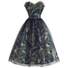 Vintage 1950s Emma Domb Black Butterfly Tulle Party Dress