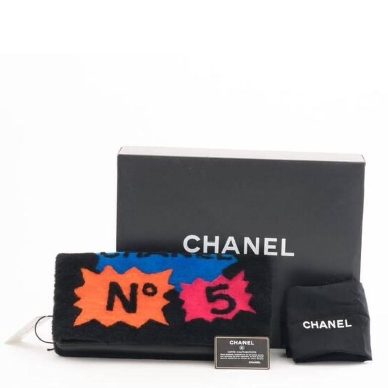 Chanel Shearling Patchwork Comic Runway Handbag Multi Clutch 2