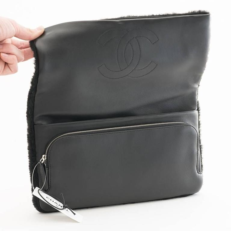 Women's Chanel Shearling Patchwork Comic Runway Handbag Multi Clutch For Sale