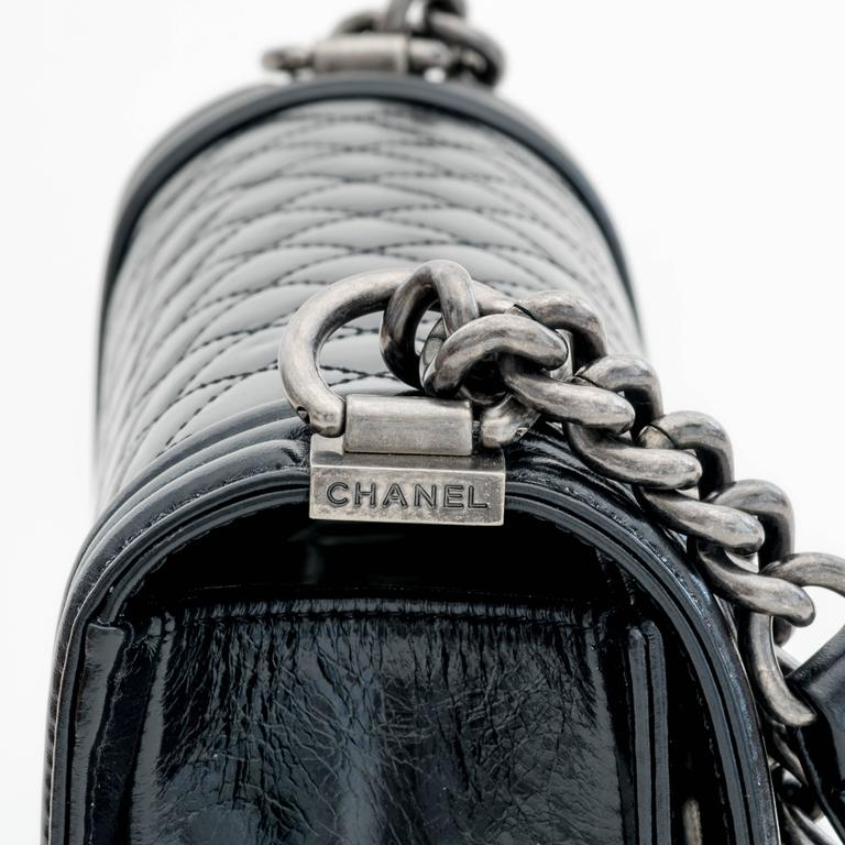 Chanel Glaze Calf New Medium Boy Flap Bag in Black 5