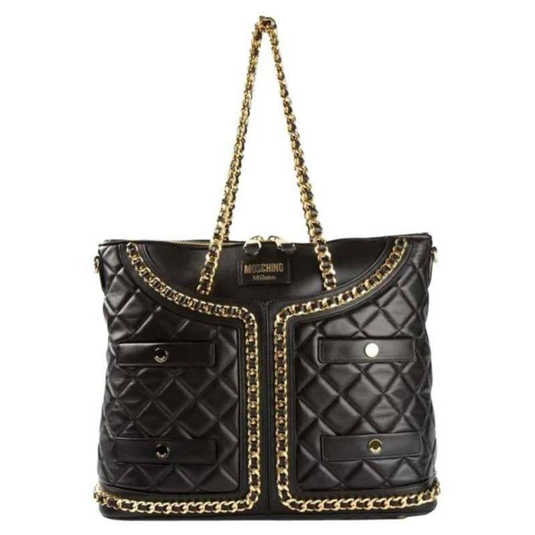 Moschino Black Leather Handbag For Sale
