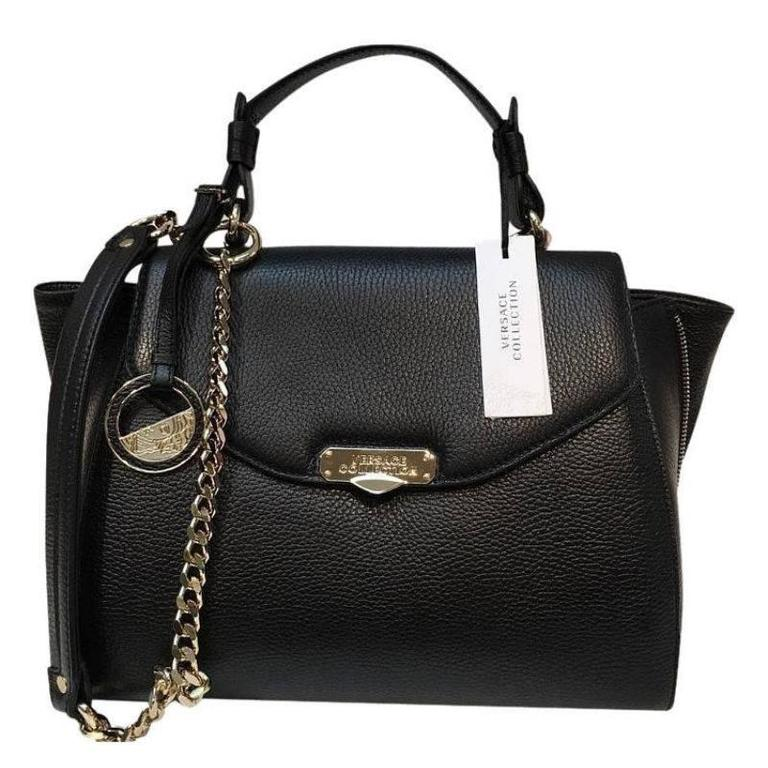 Versace Collection Pebble Leather With Flap Black Satchel