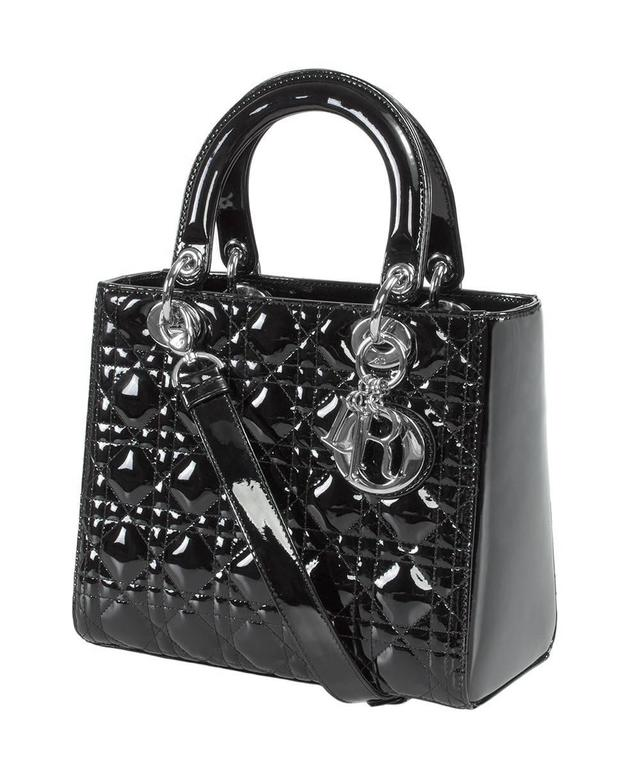 Lady Dior Patent Leather Bag Black w/ Silver Hardware at 1stdibs