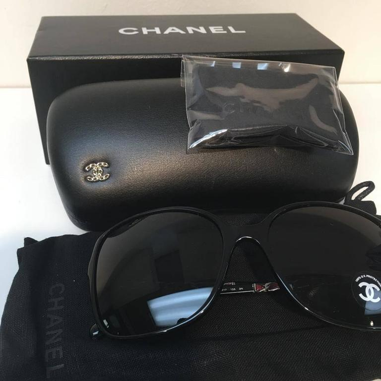 Chanel Sunglasses, Black and Silver 5