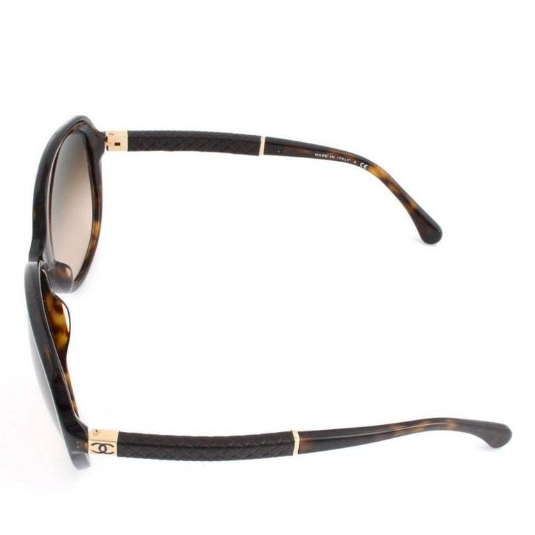 Gray Chanel Sunglasses Dark Tortoise and Brown For Sale