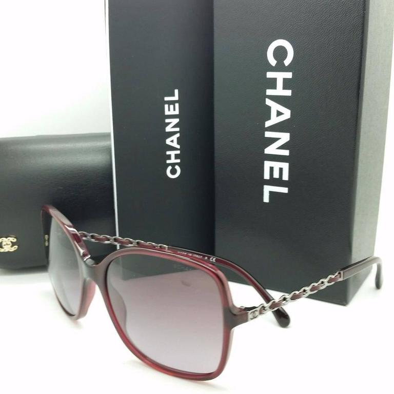 Chanel Sunglasses Red and Silver 3